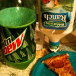 Ranch & pepperoni pizza & Mt. Dew